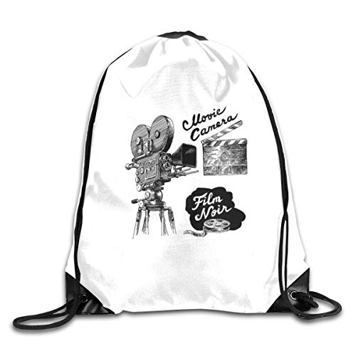 New Shorts Antique Movie Camera Hand Drawn Style Art Collection Film Noir Genre Theme Black White Drawstring Backpack Rucksack Shoulder Bags Sport Gym Bag for Men and Women -