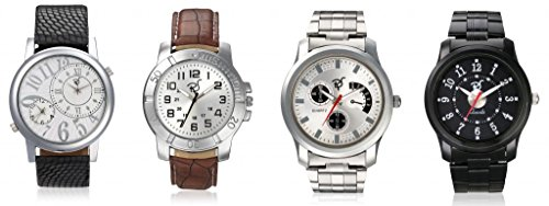 RICO SORDI Mens Set of 4 Watches - 2 Leather watches and 2 Stainless Steel Watches_RSD61_S4_LLSS
