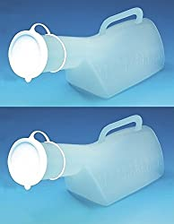 MALE URINAL PACK OF 2 - Urine bottle with long neck, lid and handle - 1 litre capacity.