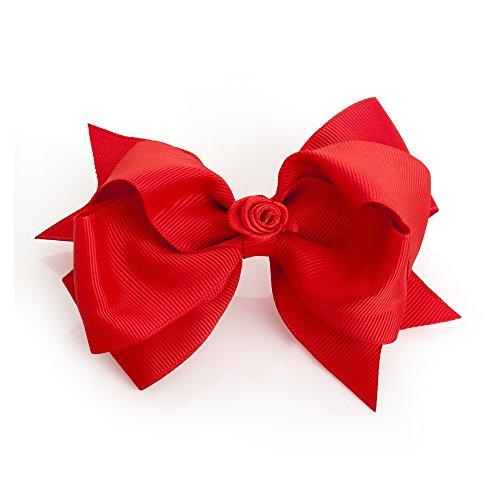 Large (12cm) rot Grosgrain Haar Schleife mit Zentral Blume Detail auf Clip