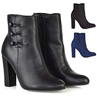- 41 2BoeJW1R9L - ESSEX GLAM New Womens High Heel Ankle Boots Ladies Zip Button Smart Shoes Booties Size