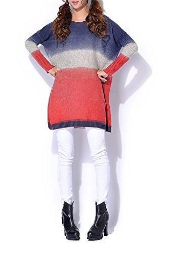 LATH.PIN Femme Pull Robe Tricote Col Rond Large Chandail Lâche Gradient Colour A La ModeTaille Unique Bleu