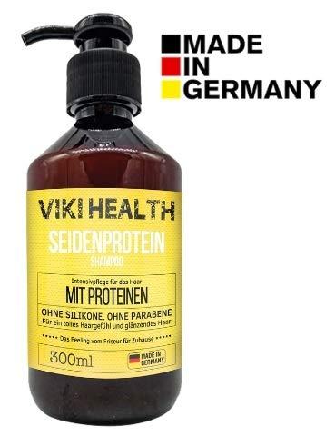 Seidenprotein-haar (VIKI HEALTH Haarkur Protein Shampoo ohne Silikone, ohne Mikroplastiken - gegen Spliss & Frizz, Haarausfall - für flauschiges Haar & Volumen, Protein Pflege, Deutsches Markenprodukt - Made in Germany)