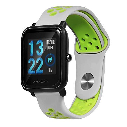 Correa Saisiyiky para amazfit BIP Youth - 20 mm Correa de repuesto de silicona para Galaxy Watch, Gear S2 Classic, Huawei Watch 2, Green 02