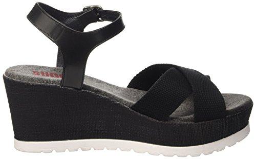 SHOOT Damen Shoes Sh-160181b Sommer Keil Leder Sandale Plateau Schuhe Schwarz (Black)