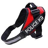 PengGengA Hundegeschirr Für Mehr Sicherheit Warnweste Brustgeschirre Hundeweste Und Hundehalsbänder Verstellbar Powergeschirr Rot M