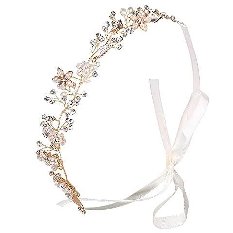 BABEYOND Crystal Headband Bridal Rhinestone Wedding Headband for Bride Wedding Headpiece Hair Accessories with Austrian Crystal Pearls Floral Leaf