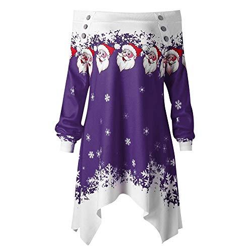 VEMOW Heißer Einzigartiges Design Mode Damen Frauen Frohe Weihnachten Schneeflocke Gedruckt Tops Cowl Neck Casual Sweatshirt Bluse(Y2-a-Violett, ()