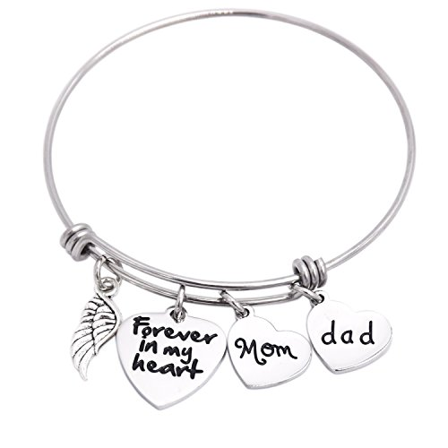 In Memory Of Dad Mom Memorial Jewelry Dad Mom Eltern Verlust Armband Edelstahl (Baby T-shirt Ash)