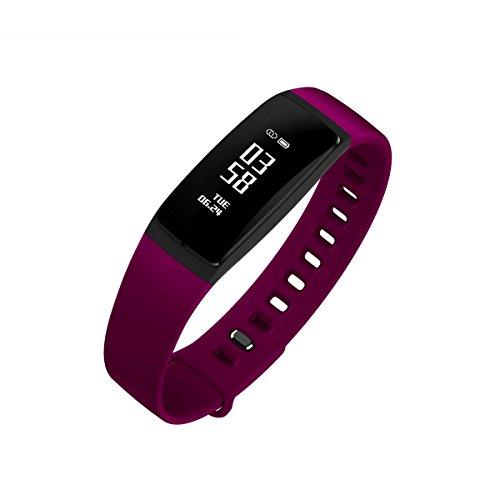 Fitness Tracker, Schritt-Marke Sleep Monitor, Sport Activity Tracker Armbanduhr, Call erinnern Nachricht Push Smart Armband für Frauen, Männer, Erwachsenen, Kind, kompatibel mit Android und iOS Handy, violett