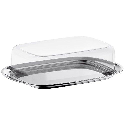 WMF Butterdose, mit Kunststoffhaube, Cromargan Edelstahl poliert, spülmaschinengeeignet, 17,5 x 11,5 cm
