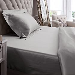 Jasmine Silk 100% Mulberry 19MM Charmeuse Seda Sábana ajustable (Gris) - KING 150cm x 200cm + 26cm