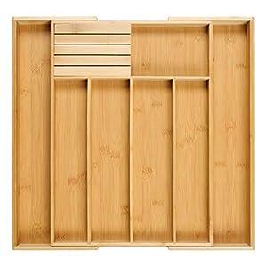 Homex Besteckkasten fur Schubladen aus 100% Bambus - ausgezogen 55 x 44,5 x 5cm (LxBxH) /mit praktischem MESSERBLOCK gratis