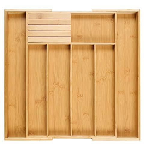 Homex Besteckkasten für Schubladen aus Bambus - Schubladeneinsatz ausgezogen 5x55x44,5cm (HxBxT) /mit 5-7 Fächer & praktischem [Messerblock gratis] -