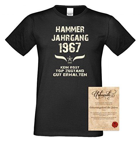 T-Shirt Geburtstag mit Urkunde - Hammer Jahrgang 1967 - Shirt Farbe wählbar - lustiges Geburtsagsgeschenk mit Humor Schwarz
