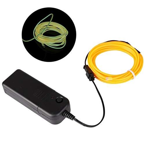 Halloween Maske EL Wire LED Streifen Licht Wasserdicht Neonlicht Glow Light Linie Rope Tube Kabel für Party Kostüme Glowing Mask Fluorescent Yellow (Yellow King Kostüm)