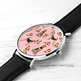 Unisex Ultra Thin Fashion Minimalist Wrist Watches Airedale Terrier Dog Cute Dogs Food Funny Pizza Pink Waterproof Quartz Casual Watch Mens Womens Womens