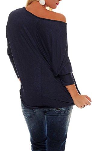 malito Damen langarm Shirt in Unifarben | Oberteil mit Vokuhila Schnitt | Basic Bluse | Tunika