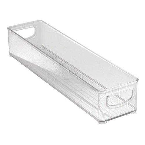 InterDesign Cabinet/Kitchen Binz Aufbewahrungsbox, kleiner Küchen Organizer aus Kunststoff, lange Box, durchsichtig (Speisekammer-organizer-körbe)