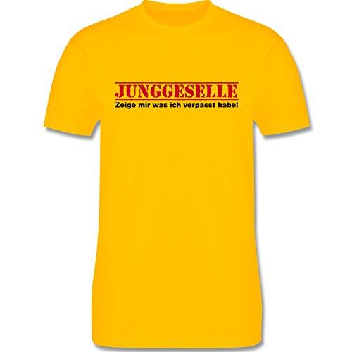 JGA Junggesellenabschied - Junggeselle - Zeige mir was ich verpasst habe - Herren Premium T-Shirt Gelb