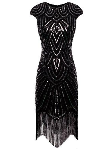 (FAIRY COUPLE 1920 Pailletten verschönert Quasten Falten Flapper Kleid D20S002(XL,Schwarz Silber))