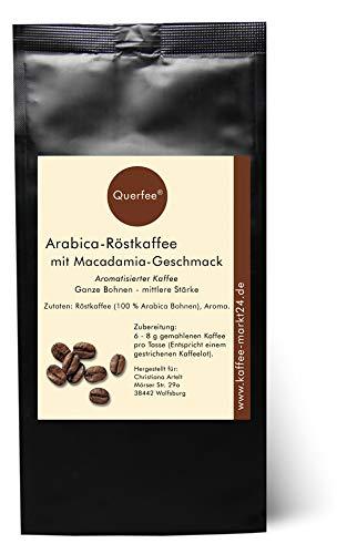 Querfee - Kaffee mit Macadamia Geschmack - Ganze Bohnen Kaffeebohnen - Arabica Röstkaffee mit Macadamia Aroma - 75 g