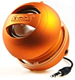 X-Mini II 2nd Generation Capsule Speaker with 3.5mm Jack Compatible with High quality sound, with clear bass resonance suitable for iPhone/iPad/iPod/Smartphones/Tablets/MP3 Player/Laptop/PC. 2.5W Portable Speaker. Also comes with Included USB charging cable & Felt bag - Orange