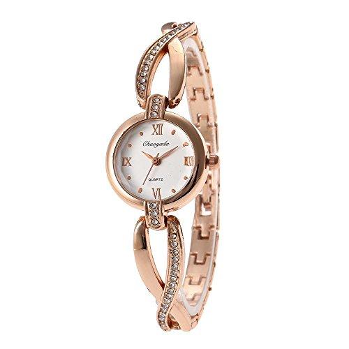 Yazilind Quarz-Armbanduhr runden Zifferblatt Titan Stahl eingelegten Strass-Armband für Frauen (Gold)