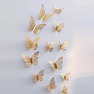 Gaddrt 12 Stk. 3D Hollow Wall Aufkleber Schmetterling Kühlschrank Magnet Spiegel Wand Kunst DIY Wand-Aufkleber für Wohnzimmer moderne Hintergrund TV-Decor, Schlafzimmer oder Küche Home Dekoration,E