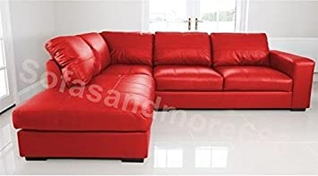 BRAND NEW - WESTPOINT - CORNER SOFA - FAUX LEATHER - LEFT HAND SIDE (red)  by SOFASANDMORE
