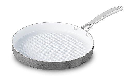"Calphalon 1937385 Classic Ceramic Nonstick Round Grill, 12"", Grey/White"
