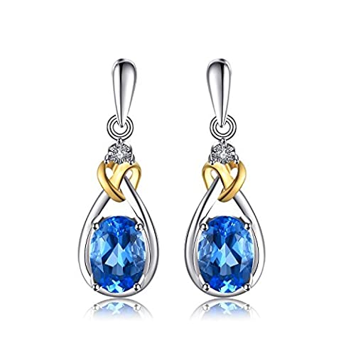 JewelryPalace Love Knot 1.9ct Natural Swiss Blue Topaz Diamond Accented