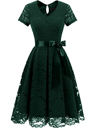 Dresstells Damen Spitzenkleid Herzform Elegant Cocktail Abendkleid DarkGreen L