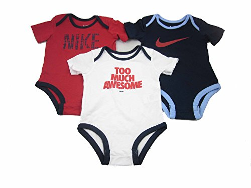 3 Pack Nike Infant Baby Bodysuits (3-6 Months, Red/Blue/White-560811) - Eine Infant Bodysuit