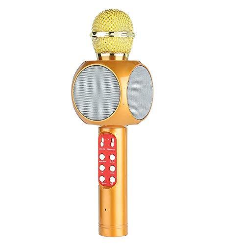 WYGC MIC Bluetooth Karaoke Mikrofon Wireless Mini Home KTV Tragbares Mikrofon Mit LED-Nachhall-Stimme Perfekt Für Pop, Rock N 'Roll, Solo-Partys Und Mehr (Farbe : Gold)