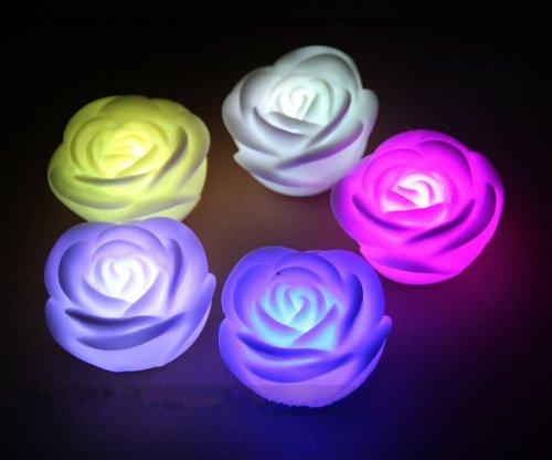 ZeleSouris–20LED vela eléctrica sin humo rosa Candle Lights Decoración Velas recargables sin llama para boda/tarde/Navidad/Festivals/salón/dormitorio/café/resrurant