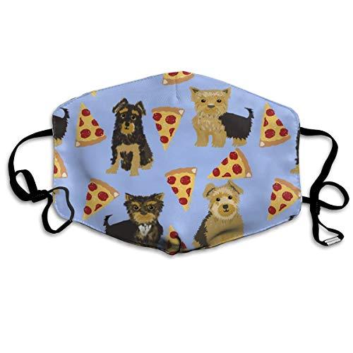 Haar-maske Essen (Yorkie Pizza, Yorkshire Terriers Pizza lustiger süßer Hund Neuheit Essen Druck für Yorkie Besitzer Beste Hunde für Home Dec Anti-Staub-Maske Anti-Verschmutzung waschbare wiederverwendbare Mundmasken)