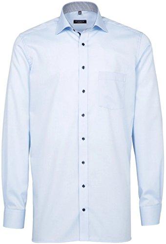 ETERNA Modern Fit Hemd Langarm schwarzer Patch Oxford weiß Hellblau