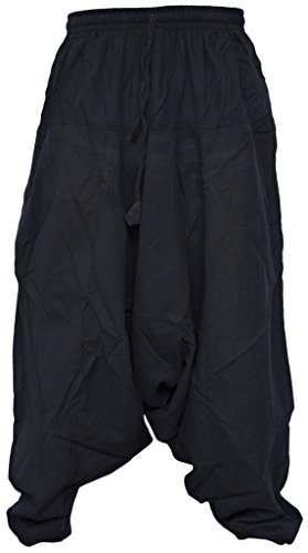 Little Kathmandu Herren Licht Baumwolle Drop Crotch Ninja Aladdin Genie Harem Hose Pant Trousers Black Small Medium (Hanf-yoga-hosen)