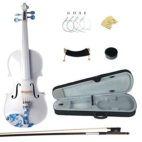 Kinglos 4/4 Einfach Farbig Ebenholz Beschläge Massivholz Violine Geige mit Harten Fall, Schulterstütze, Bogen, Kolophonium, Brücke und Saiten (DS005) -