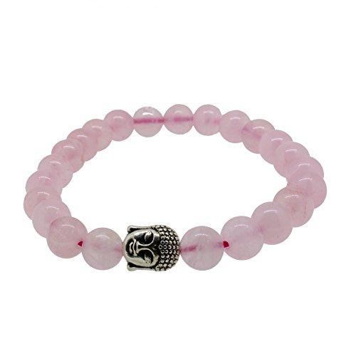 Silverart Buddha Armband 107876 FAB004 Rosenquartz rosa Metal nickelfrei versilbert, Armbandlänge:20 cm