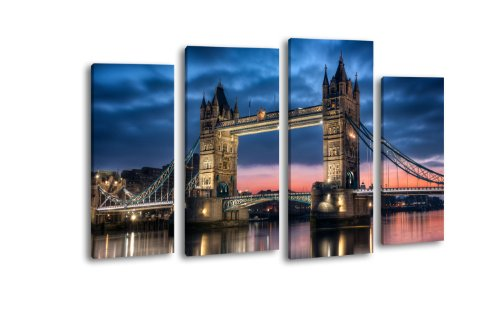 Leinwandbild Tower Bridge bei Nacht LW211 Wandbild, Bild auf Leinwand, 4 Teile, 180x100cm, Kunstdruck Canvas, XXL Bilder, Keilrahmenbild, fertig aufgespannt, Bild, Holzrahmen, England, London, Großbritanien,
