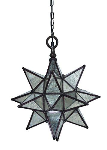 Emporio Arts NEUF Emporio Bazaar vintage Stress en verre étoile à 12 branches lampe moderne Pendentif lumière, verre, E27, 60 Watts