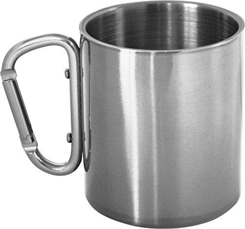 normani Doppelwandiger Edelstahl Kaffeebecher mit Karabinerhaken zur Befestigung am Rucksack Farbe Silber