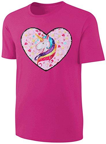 Blackshirt Company Mädchen T-Shirt Wende Pailletten Einhorn Herz Streichel Shirt Pink Größe 128 (Aus Mädchen T-shirt)