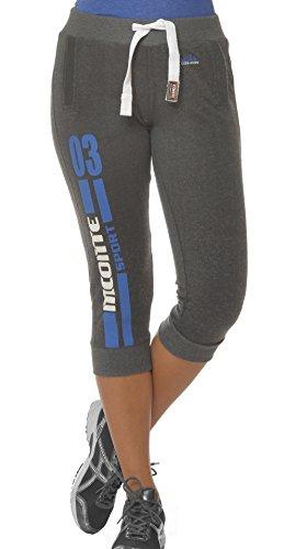 M.Conte Damen Capri Hose Sweathose 3/4 Laufhose Shorts Sportliche Fitness trainings jogging hose Mit Bündchen Anthrazit Schwarz Weiß S M L XL Nanni Farbe Anthrazit Größe M (Capri Print-bluse)