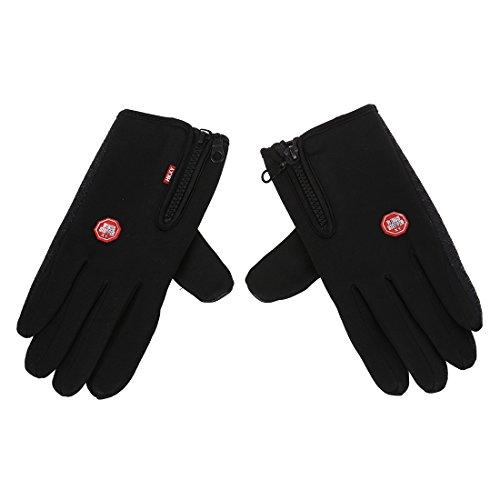 TOOGOO(R) Unisex Beruehrungsbildschirm Fleece Thermische Winter Warme Handschuhe fuer Outdoor Radfahren Skifahren Wandern Schwarz (M Groesse)