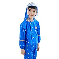wall-8-CC Kids Cute Waterproof Polyester Rain Coat Boy Children Girls Windproof Jumpsuit Kindergarten Student Baby Raincoat Suit