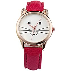 Mallom® Fashion Neutral Diamond Lovely Cats Face Quartz Watch Red
