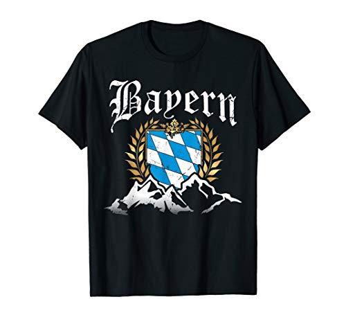 Bayern mit Bergen Wappen Königlich Freistaat Herren Damen T-Shirt - Wappen Schwarzes T-shirt